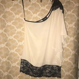Bebe ivory with black lace one shoulder top